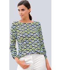 blouse alba moda limoengroen::wit
