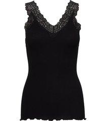 organic top v-neck regular w/lace t-shirts & tops sleeveless svart rosemunde