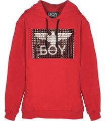 boy london designer sweatshirts, red cotton men's hoodie w/studs