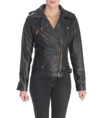 chaqueta de cuero negro arba