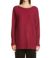 women's eileen fisher silk & cashmere tunic, size x-large - red