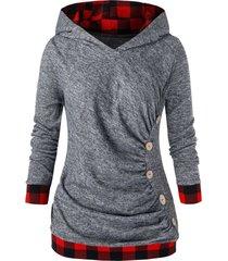 plus size plaid trim ruched space dye hoodie