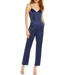 women's lulus touch of heaven satin jumpsuit, size medium - blue
