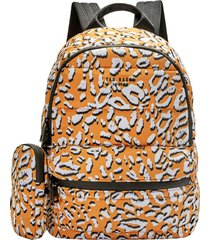 ted baker london leopard print puffer backpack - yellow