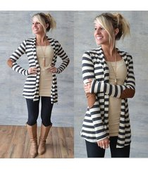 new fashion women casual long sleeve striped cardigans patchwork outwear sweater