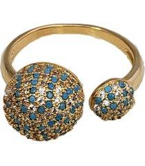 anel ajustável papillô joias globos cravejados, em ouro 18k