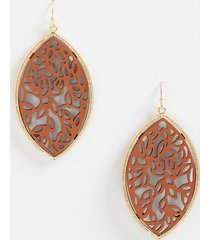 maurices womens framed faux leather cutout earrings brown