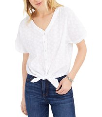style & co petite cotton textured tie-front top, created for macy's