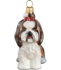joy to the world shih tzu top knot brown & white pet charity ornament
