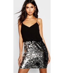 boutique sequin skirt 2 in 1 bodycon dress, black