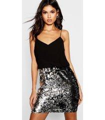 boutique 2-in-1 bodycon jurk met pailetten, zwart