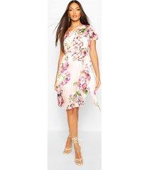 floral print one shoulder drape midi dress, pink