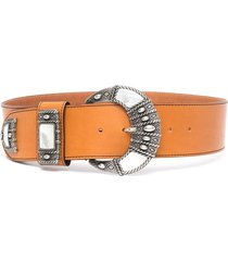 woman belt in orange leather with carved buckle and mother of pearl applications