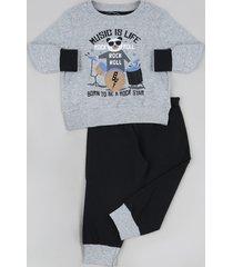 pijama de moletom infantil panda manga longa cinza mescla