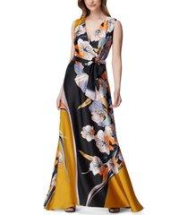 tahari asl graphic-floral gown