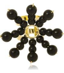 anel le diamond flor de resinas preto - tricae