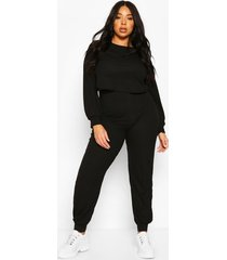 plus soft rib long sleeve top & pants