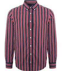 tommy hilfiger regimental stripe shirt - haute red & black iris mw0mw07792