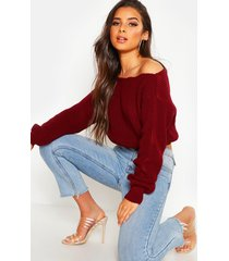 crop slash neck fisherman sweater, berry