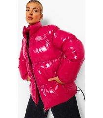 glanzende gewatteerde jas met hoge kraag, hot pink