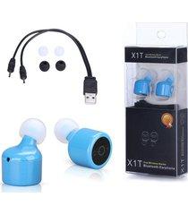 audifonos bluetooth, x1t mini invisible gemelos verdaderos inalambricos audifonos deportivos bluetooth manos libres para iphone, samsung sony xiaomi (azul)
