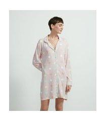camisola manga longa em viscolycra com estampa corações | lov | rosa | p