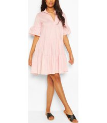 maternity tiered cotton smock dress, pale pink