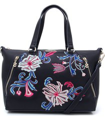 bolsa tiracolo desigual floral azul-marinho