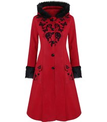 plus size faux fur hooded floral butterfly print coat