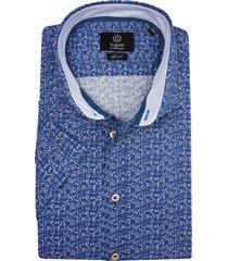 bugatti shirt korte mouw blauw paisley motief