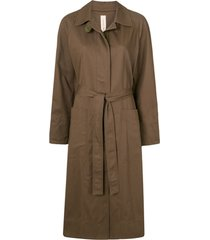 lee mathews drill belted trench coat - marrom