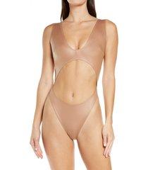 women's skims wet jersey cutout bodysuit, size medium - brown
