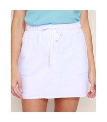 saia de moletinho feminina curta básica com bolsos e cordão branca