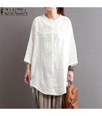 zanzea estilo de cuello redondo botones bolsillos 3/4 pullover camisa de las señoras de otoño ocio básico dobladillo irregular de gran tamaño blusa blanca -blanco