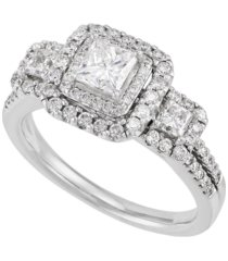 diamond princess cut halo engagement ring (1 1/2 ct. t.w.) in 14k white gold