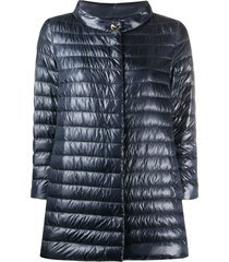 herno padded button-front jacket - blue