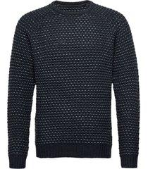pullover ambitious stickad tröja m. rund krage blå blend
