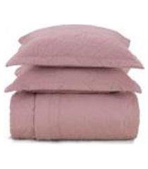 cobre leito queen karsten com 2 porta travesseiros 180 fios percal liss rosa
