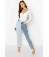 contrasterende boyfriend jeans met hoge taille, blauw