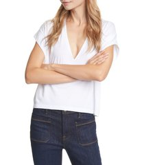women's frame le high rise v-neck organic pima cotton t-shirt, size small - white