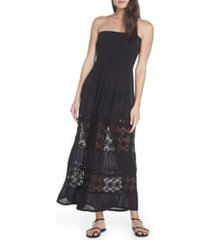 women's chelsea28 farrah smocked cover-up maxi dress, size xx-large - black