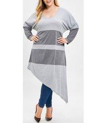 plus size color block asymmetrical slit t-shirt