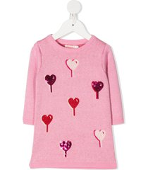 billieblush heart embellished sweater dress - pink