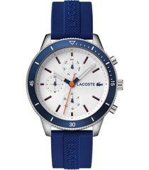 lacoste men's chronograph key west blue rubber strap watch 44mm