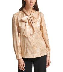 calvin klein petite bow-neck printed blouse