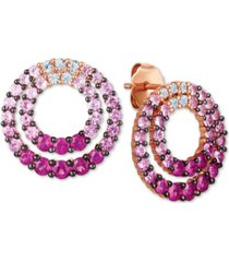 le vian strawberry layer cake multi-gemstone ombre double circle drop earrings (2-1/6 ct. t.w.) in 14k rose gold