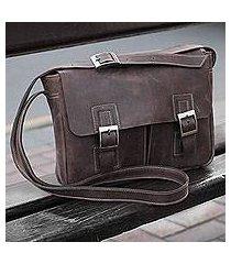 leather messenger bag, 'wandering coffee' (peru)