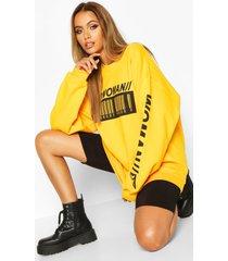 woman barcodes print sweatshirt, yellow