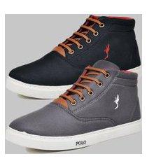 kit 2 pares sapatênis casual botinha masculino polo blu cinza/preto
