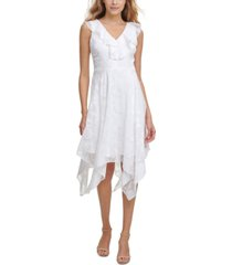 kensie burnout-print chiffon midi dress
